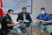 Foto de Wilson Lima e governo da Colômbia discutem combate à Covid-19 na fronteira entre Tabatinga e Letícia